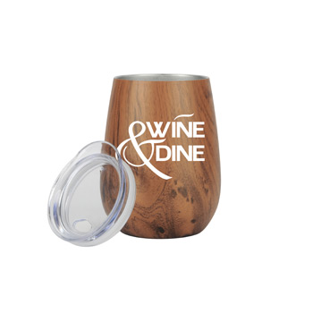 10 oz Stainless Steel Wood Tone Stemless Wine Glass