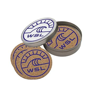 Cork Coaster Set in Round Tin