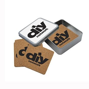Cork Coaster Set in Square Tin